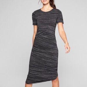 Athleta Grey Asymmetrical Ruched Casual Dress
